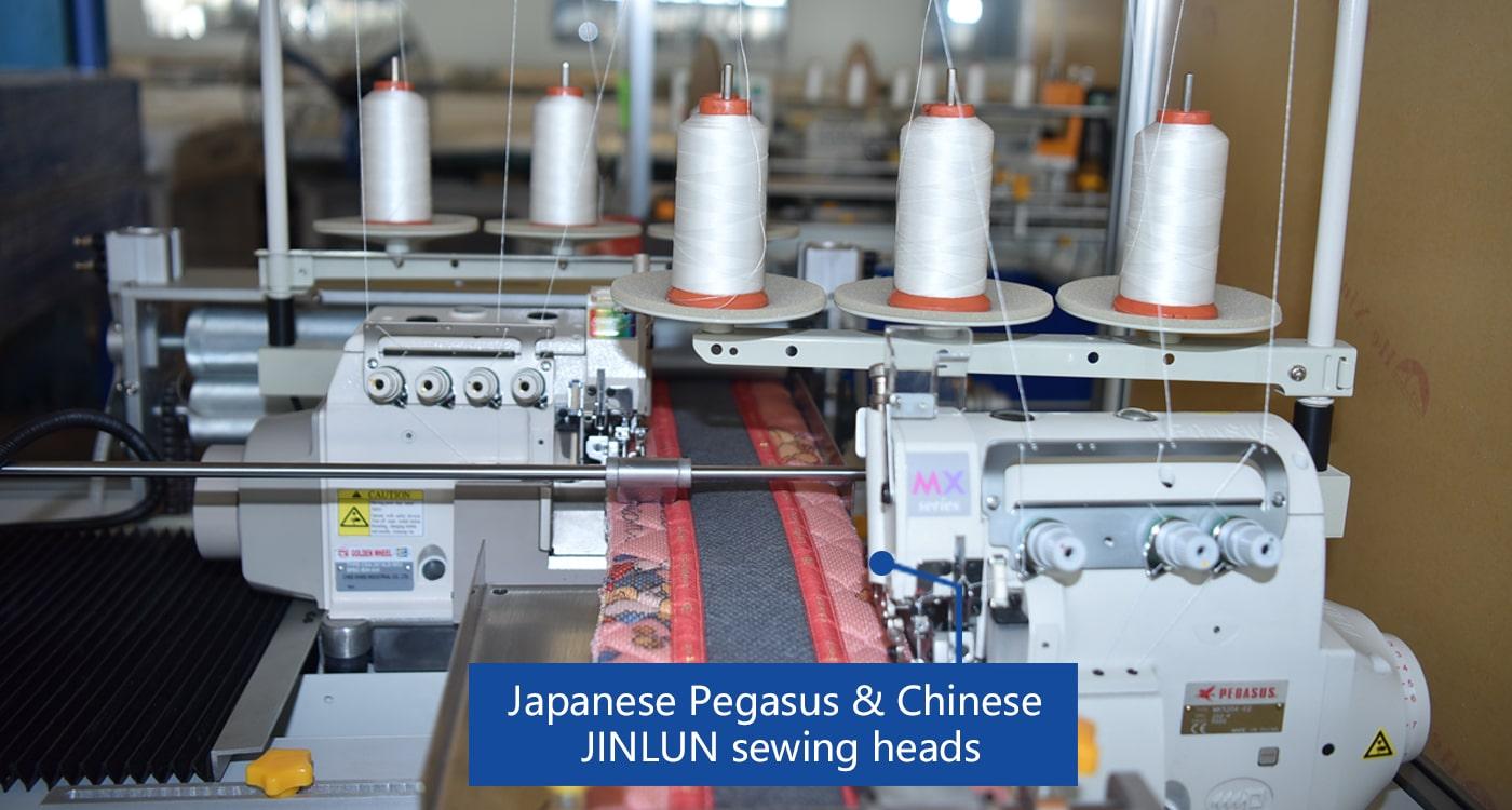 Japanese Pegasus & Chinese  JINLUN sewing heads